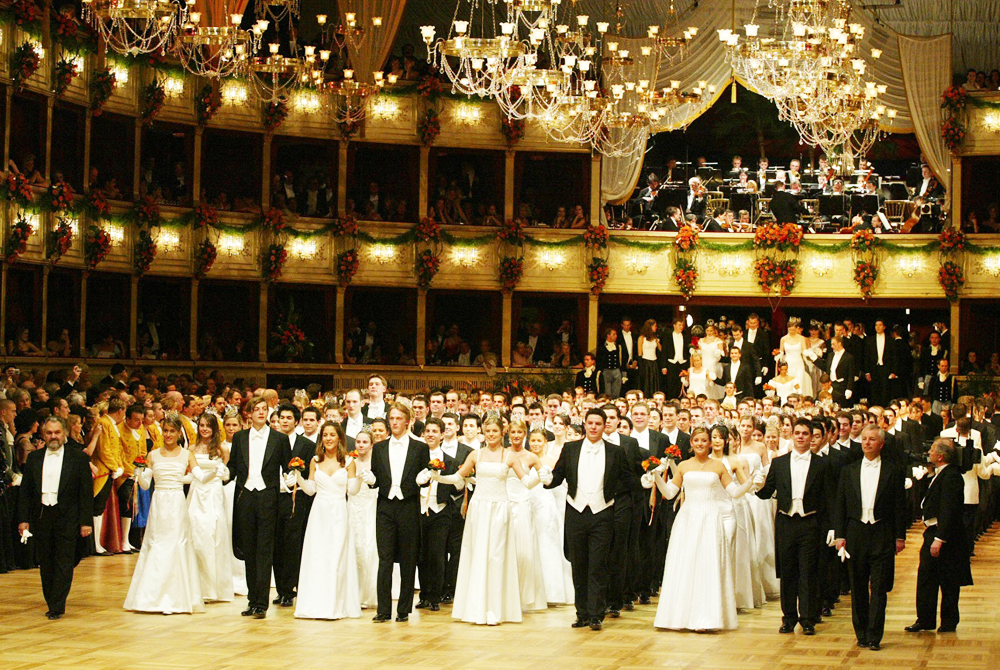 Young couples dance at the Vienna opera