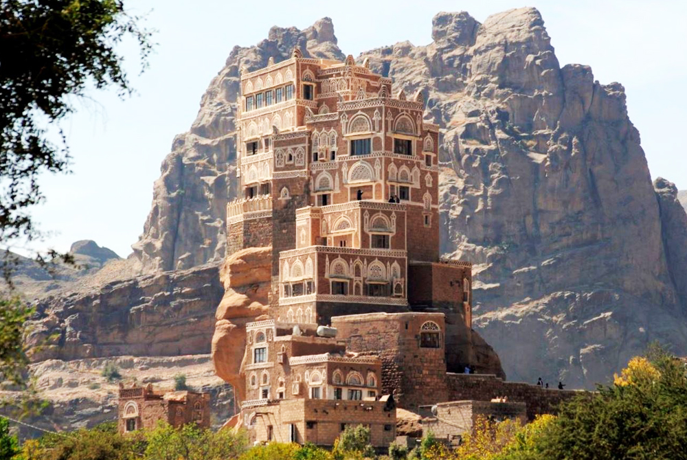 Dar al-hajar, a rock palace built in the 1930s, is seen near San